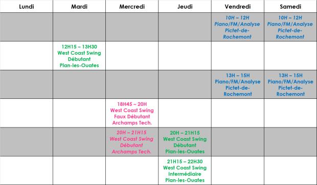 Planning février 2020 West Coast Swing Genève